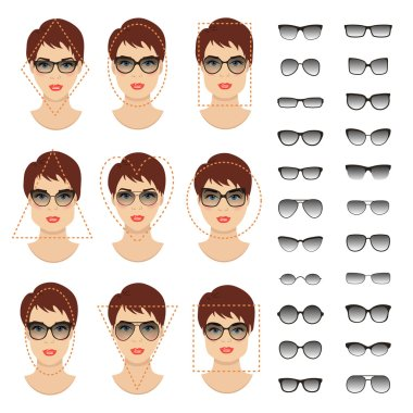 Woman sunglasses shapes for different women face types. Vector illustration isolated on white background.