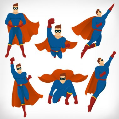Superhero in Action: icon set of Superhero character different poses with red cape and blue suit in cartoon colored style . Vector illustration.