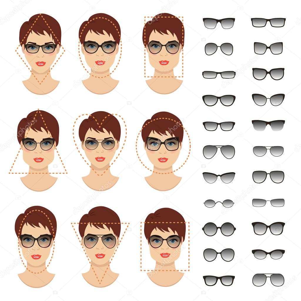 872bcb8ab4 Woman sunglasses shapes for different women face types. Vector ...
