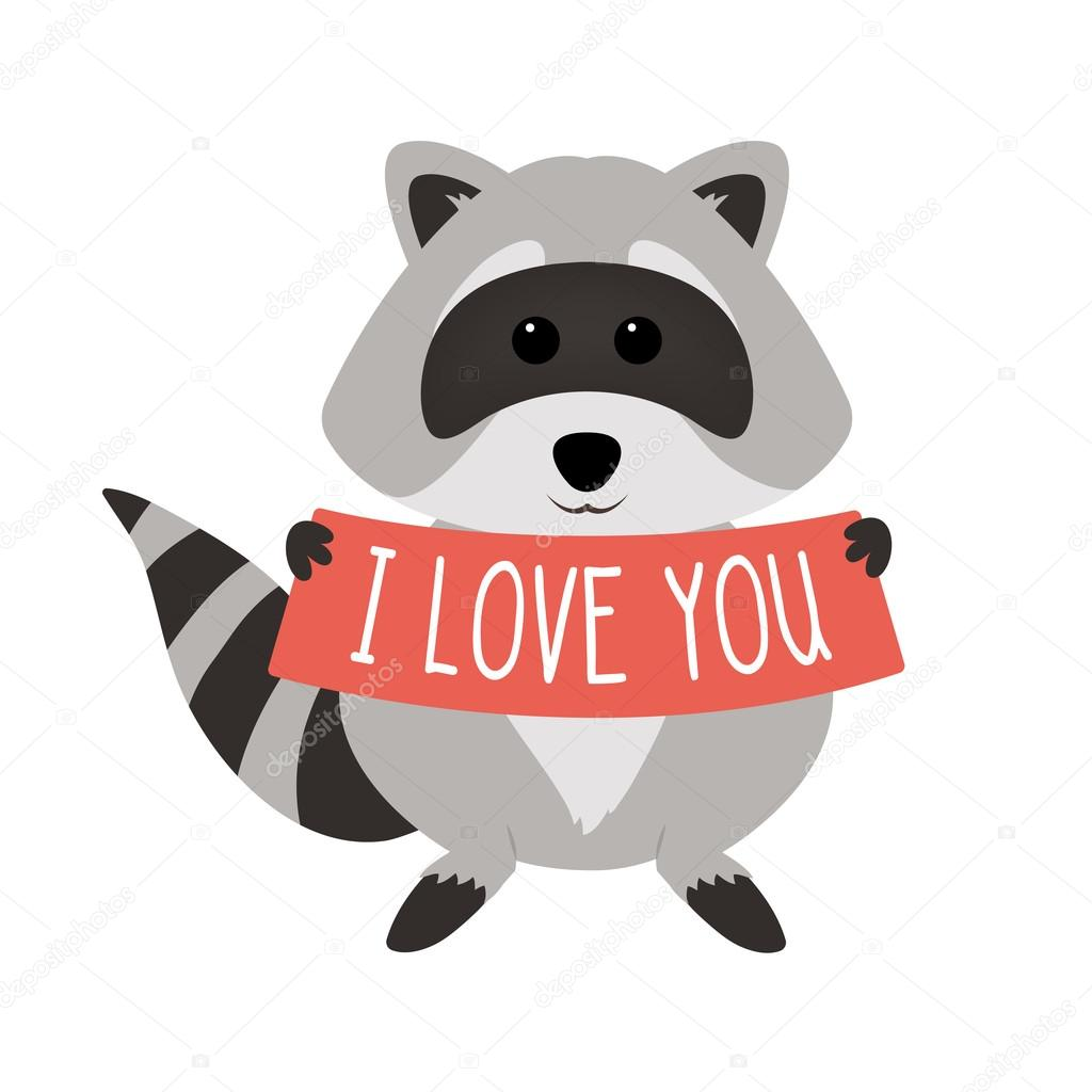 Cute raccoon holding text: I love you, isolated on white ...