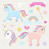 Unicorn set with running unicorn, standing unicorn, unicorn head, hearts, clouds, rainbow, magic wand, stars, bows, diamonds, wing and text: My Unicorn.