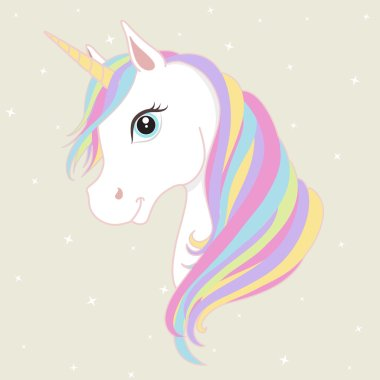 White unicorn vector head with mane and horn. Unicorn on starry background.