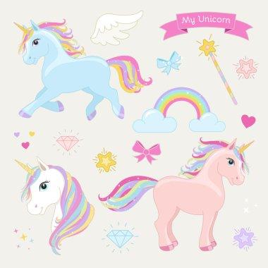 Unicorn set with running unicorn, standing unicorn, unicorn head, hearts, clouds, rainbow, magic wand, stars, bows, diamonds, wing and text: My Unicorn.