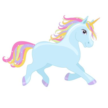 Blue running unicorn with mane and horn. Vector starry background.