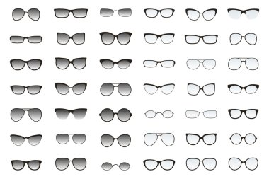 Set of glasses shapes for different face types. Many types of sun glasses. Vector fashion collection.