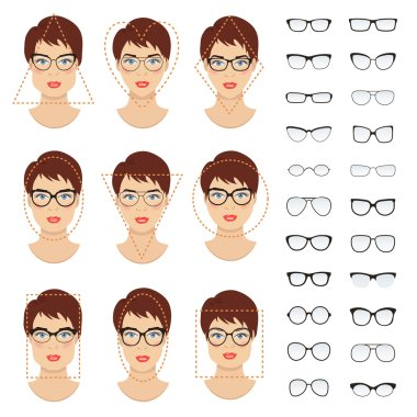 Set of woman eyeglasses shapes for different women face types - square, triangle, circle, oval, diamond, long, heart, rectangle. Vector collection.