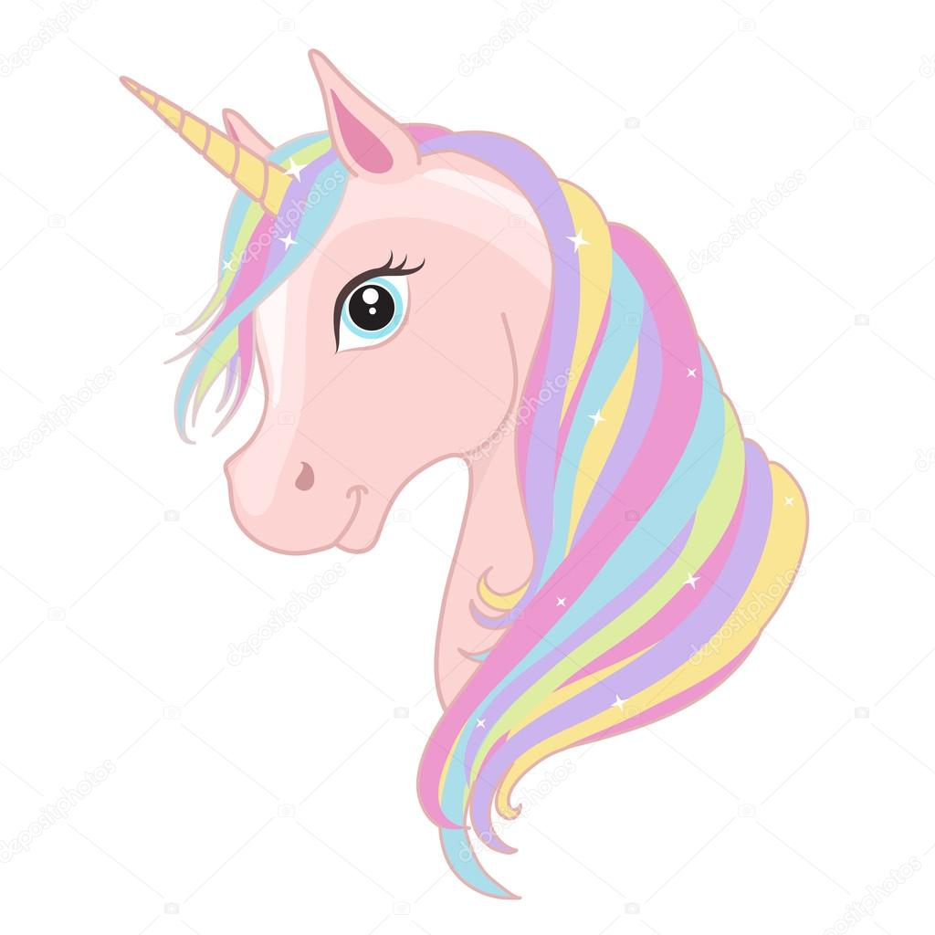 Pink unicorn head with rainbow mane and horn isolated on ...