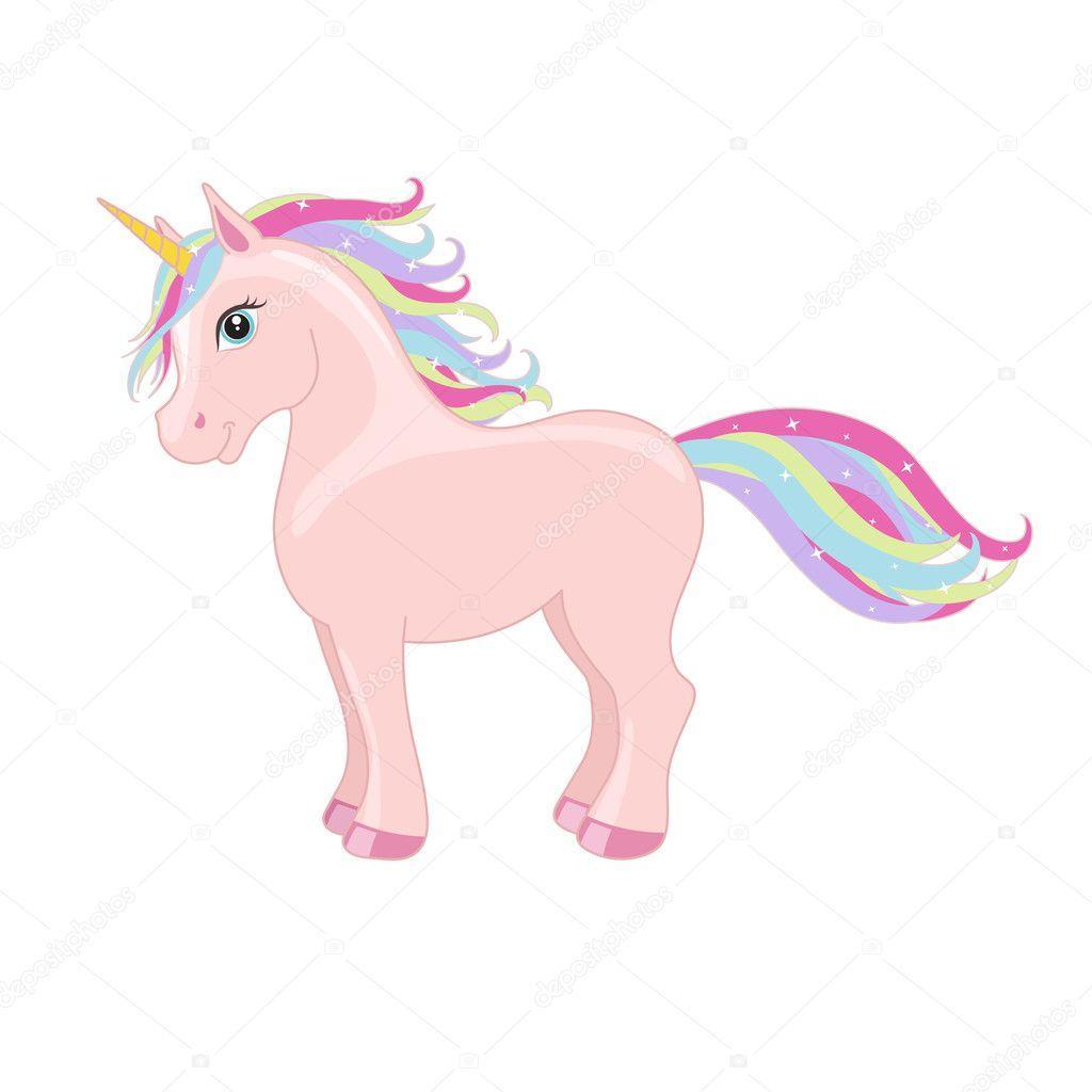 unicorn-4u: Pink standing unicorn with mane and horn ...