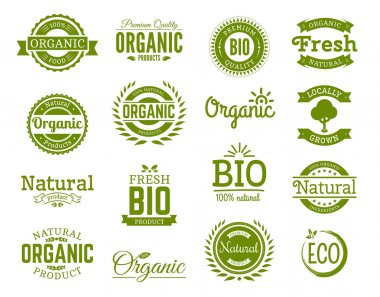 Retro style set of 100% bio, natural, organic, eco, healthy, premium quality food labels. Logo templates with floral and vintage elements in green color for identity, packaging. Set of vector badges.