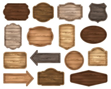 Wooden sign boards, stickers, labels, banners and badges. Vector set. Wooden signboard collection.