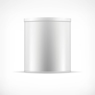 White tin can with plastic cap. Realistic round container for dry products (tea, coffee, spice, sugar, cereals, cookies). Realistic vector mock up template. Food packaging collection.