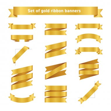 Set of golden ribbon banners. Flat vector gold tape collection. Glossy ribbons isolated on white background. Golden tapes. Label illustration for greeting card, gift, poster, flyer, site, news your design.