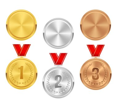 Set of gold, silver and bronze award medals with red ribbons. Medal round empty polished vector collection isolated on white background. Premium badge, label, design. Winner awards. Coins button icons.