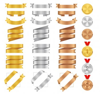 Set of bronze, golden, silver ribbons and award medals. Vector medal tape collection. Glossy ribbon banners isolated on white background. Labels for greeting card, gift, poster, flyer, news, your design.