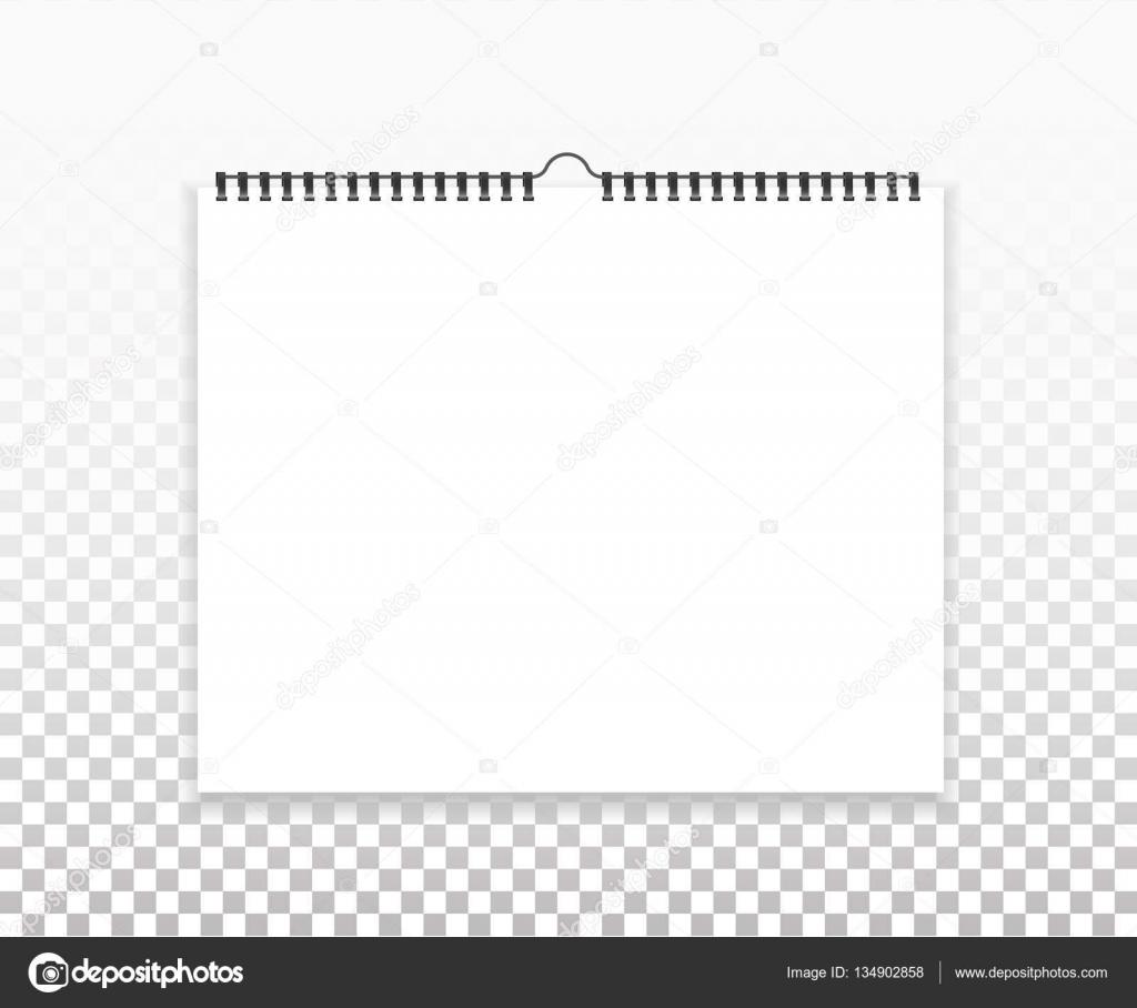 Mock-up, Vorlage horizontale Kalender leer. Blatt Papier mit Spirale ...