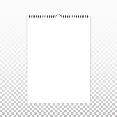 Blank vertical calendar mock up, template. Sheets of paper with spiral and transparent shadows on background.