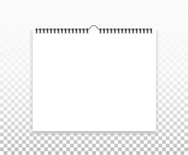 Blank horizontal calendar mock up, template. Sheets of paper with spiral and transparent shadows on background.