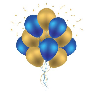 Bunch of Birthday Balloons. Colorful Blue and Golden Balloon Vector.