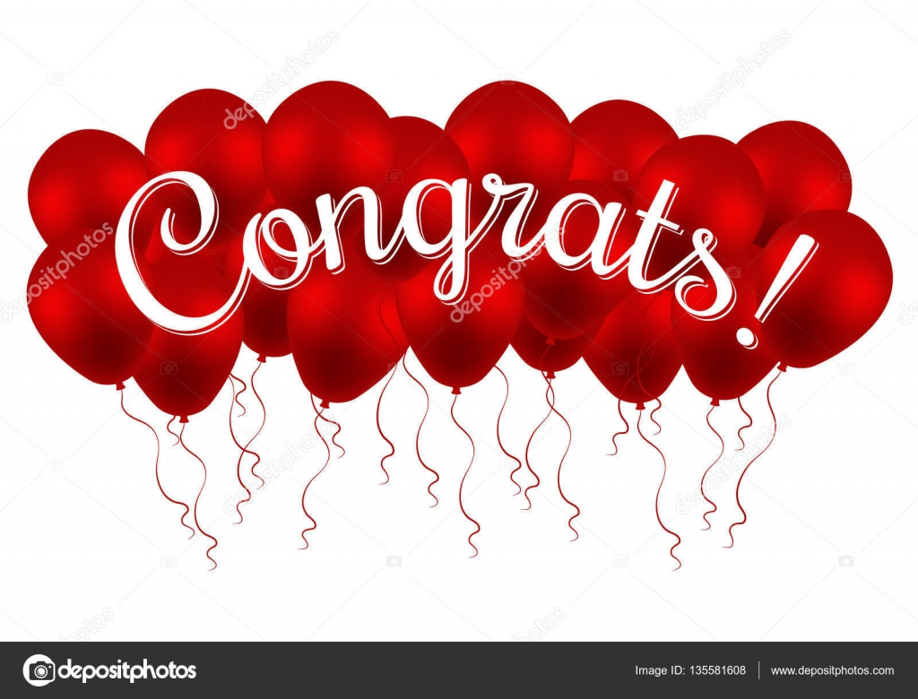 congrats  congratulations vector banner with balloons and