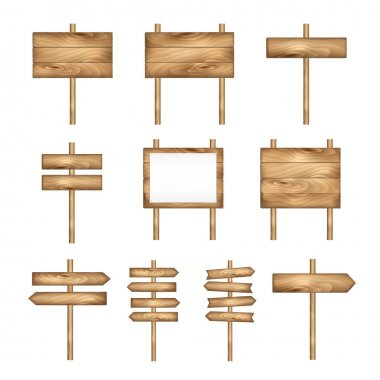 Wooden signboards, wood arrow sign set. Vector signboard banner collection.