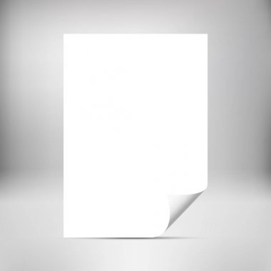 Empty paper sheet with curled corner isolated on background.  Mockup for your design.