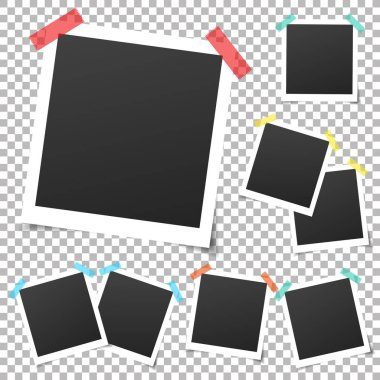 Collection of vintage vector photo frames with adhesive tape. Set of old photos.