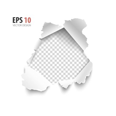 Transparent hole in white paper isolated on white background.  Vector illustration element for your text.
