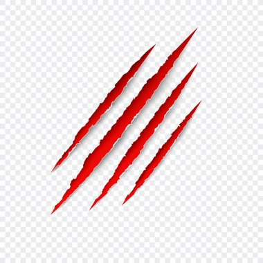 Claws scratches. Vector red scratch set isolated on transparent background.