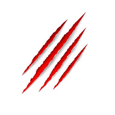 Claws scratches. Vector red scratch set isolated on transparent