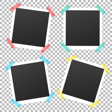 Collection of vintage vector template photo frames with adhesive tape.