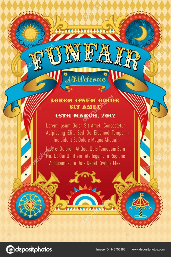Funfair Vector Design Template Poster Flyer Banner Invitation