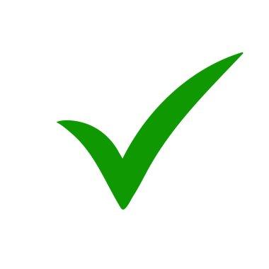 Green tick. Green check mark. Tick icon.
