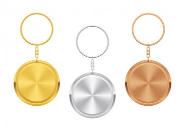 Trinkets. Realistic Keychain Templates. Golden, Silber, Bronze.