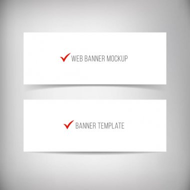 Banners with different shadows isolated on dark grey background.