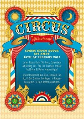 Circus template. Vector circus, funfair, festival, show vector illustration.