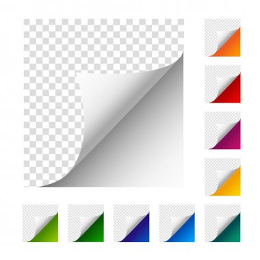 Vector paper corners. Set of colorful paper sheets.