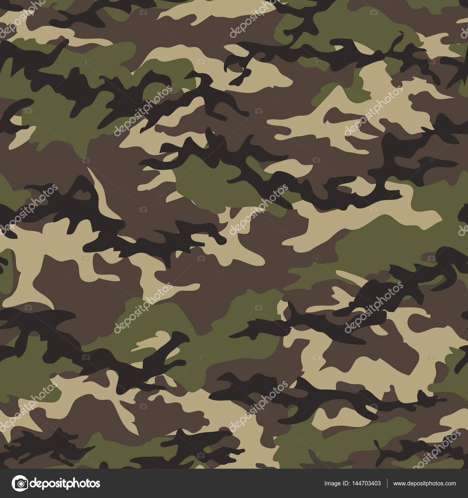 Camouflage seamless woodland pattern background. Military camouflage pattern. Fashionable camouflage textile. Military print. Seamless vector wallpaper.