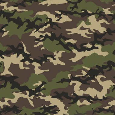Camouflage classic olive, green woodland seamless pattern background, textile, wallpaper.