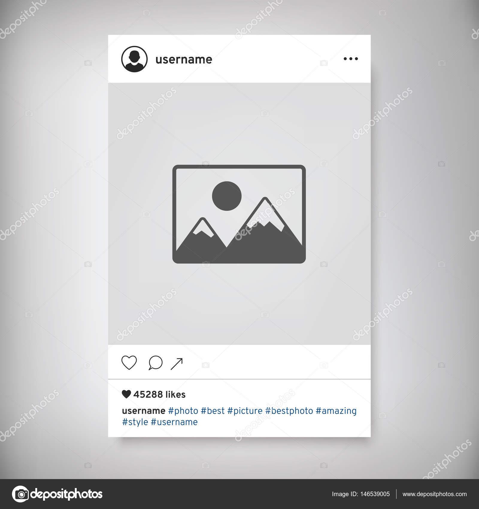 Marco de fotos de red social. Post de Instagram — Archivo Imágenes ...