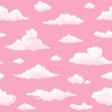 Cloud vector seamless pattern with pink sunset sky.