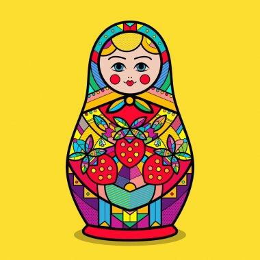 Vector traditional russian nesting doll-matrioshka. Russian symbol.
