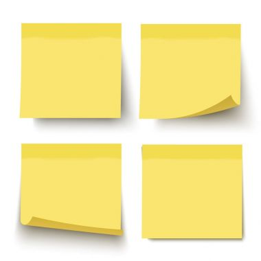 Yellow realistic vector sticky note set.