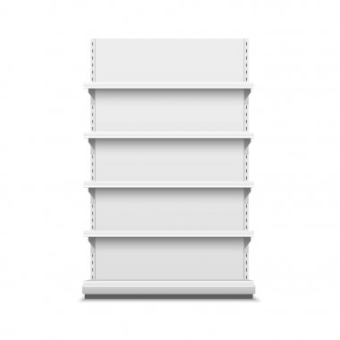 White realistic empty vector store shelves.