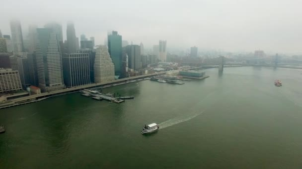 Copter flight above Hudson river to Manhattan island