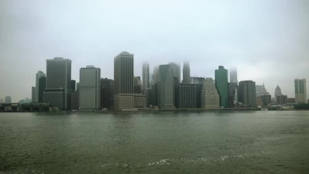 Shot of Manhattan island financial district from the distance