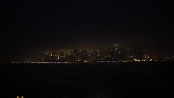 Shot of Manhattan island in night time