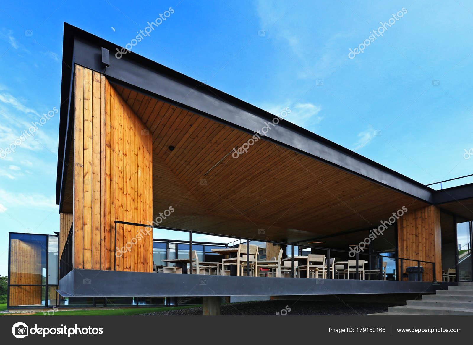 Zeitgenössische Architektur Mit Metall Und Holz — Stockfoto © S ...