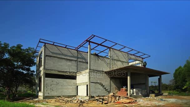 Ein Modernes Haus Bauen U2014 Stockvideo