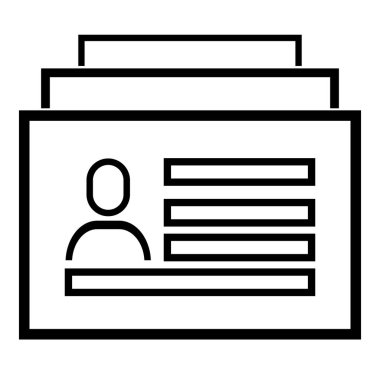 Id card icon. Head Hunting Related Vector Line Icons