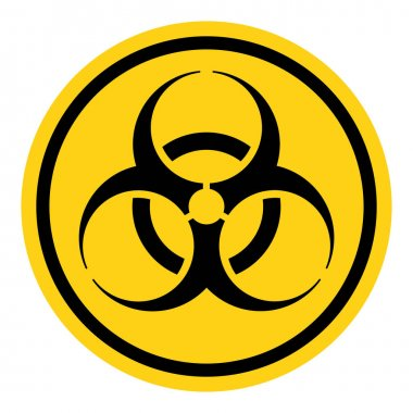 Danger warning circle yellow sign. Bio hazard vector icon isolated on white background